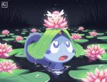 :o blue_eyes commentary creature english_commentary flabebe flower gen_6_pokemon gen_8_pokemon lily_pad mintfoox nature night night_sky no_humans on_head outdoors partially_submerged pokemon pokemon_(creature) pokemon_on_head sky sobble star_(sky) starry_sky water