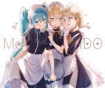 1boy 2girls apron aqua_eyes aqua_hair backlighting bangs black_dress blonde_hair blush commentary cowboy_shot crossdressing dress embarrassed frilled_apron frills gloves hair_ornament hairclip hand_on_another's_chin hand_up hatsune_miku heart holding holding_tray jam_(zamuchi) kagamine_len kagamine_rin long_hair looking_at_another maid maid_apron maid_day maid_dress maid_headdress multiple_girls open_mouth raised_eyebrows short_hair short_sleeves skirt_hold smile spiky_hair sweat swept_bangs symbol_commentary tongue tongue_out tray twintails very_long_hair vocaloid white_apron white_background white_gloves wrist_cuffs