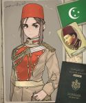 1boy 1girl brown_eyes brown_hair closed_mouth expressionless eyebrows_visible_through_hair fez_hat highres kaiserreich long_sleeves looking_at_viewer military original photo_(object) pzkpfwi red_headwear short_hair short_hair_with_long_locks sidelocks