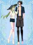 1boy 1girl :d barefoot black_hair black_legwear blue_background blue_shirt blue_shorts bubble_tea cup dairoku_youhei disposable_cup doll_joints green_hair hair_ribbon hands_in_pockets hat joints l_(matador) long_hair male_swimwear navel open_clothes open_mouth open_shirt ribbon shirt shorts smile spoon standing straw_hat sunglasses swim_trunks swimwear toeless_legwear white_shirt yellow_eyes