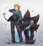1boy absurdres black_pants black_shirt blonde_hair blue_eyes blue_jacket denji_(pokemon) full_body gen_4_pokemon gradient gradient_background grey_background gym_leader hand_in_pocket highres jacket long_sleeves looking_at_viewer luxray male_focus odd_(hin_yari) open_clothes open_jacket pants pokemon pokemon_(creature) pokemon_(game) pokemon_dppt shirt standing