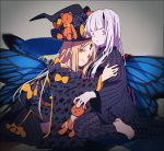 2girls abigail_williams_(fate/grand_order) bangs black_bow black_kimono blonde_hair bow butterfly_wings commentary_request fate/grand_order fate_(series) hakusai_(tiahszld) japanese_clothes keyhole kimono kneeling lavinia_whateley_(fate/grand_order) long_hair looking_at_viewer multiple_girls orange_bow pale_skin parted_bangs pink_eyes red_eyes red_nails smile stuffed_animal stuffed_toy teddy_bear wings