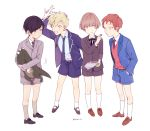 4boys :d :o aircraft airplane aqua_eyes arafune_tetsuji bangs black_hair black_neckwear black_ribbon blazer blonde_hair blue_eyes blue_jacket blue_neckwear blue_shirt blue_shorts box brown_footwear child collared_shirt emblem eye_contact feeding food full_body grey_footwear grey_jacket grey_neckwear grey_shorts grimu hands_in_pockets highres holding holding_food holding_stuffed_animal inukai_sumiharu jacket kneehighs loafers long_sleeves looking_at_another motion_lines multiple_boys narasaka_touru neck_ribbon necktie open_clothes open_jacket open_mouth redhead ribbon school_uniform shirt shoes shorts simple_background smile socks standing stuffed_animal stuffed_dinosaur stuffed_toy sweatdrop sweater toy tsuji_shinnosuke violet_eyes white_background white_legwear white_shirt world_trigger younger