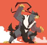 borkthunder claws clenched_teeth commentary creature english_commentary fighting_stance full_body highres legendary_pokemon no_humans orange_background pokemon pokemon_(creature) signature simple_background solo standing teeth urshifu urshifu_(single)