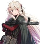 1girl ak-74m ak-74m_(girls_frontline)_(rabochicken) belt_pouch blonde_hair blood blood_on_face blue_eyes cape ear_protection girls_frontline gun hair_ornament hairclip highres long_hair one_eye_closed pouch rabochicken simple_background smoke solo weapon white_background