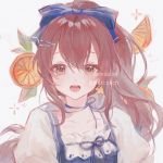 blue_dress bow brown_hair commentary commentary_request commission dress food fruit hair_bow hair_ribbon highres looking_at_viewer maccha_(mochancc) mandarin_orange open_mouth orange_eyes ribbon tagme white_background white_dress