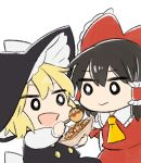 2girls :d apron ascot black_dress black_hair blonde_hair bow chibi commentary_request cyu_ta dress eyebrows_visible_through_hair feeding food hair_between_eyes hair_bow hair_tubes hakurei_reimu hat highres holding holding_food kirisame_marisa looking_at_another medium_hair multiple_girls o_o open_mouth red_bow red_dress short_hair simple_background smile takoyaki touhou upper_body white_background witch_hat yellow_neckwear