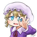 1girl avatar_icon blonde_hair blue_eyes chamaji collared_dress commentary dress eyebrows_visible_through_hair hat long_sleeves looking_at_viewer lowres maribel_hearn mob_cap neck_ribbon ok_sign open_mouth purple_dress red_ribbon ribbon short_hair signature smile touhou upper_body white_background