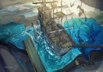 ambiguous_gender artist_name blurry book bookmark caustics commentary_request demizu_posuka depth_of_field fantasy from_above hanging holding indoors miniature ocean open_book original parachute pen pop-up_book shark ship sketch surreal water watercraft waves