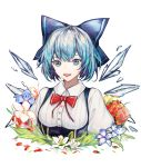 1girl absurdres bangs blue_bow blue_dress blue_eyes blue_hair bow breasts cirno collar collared_shirt commentary dress eyebrows_behind_hair fairy_wings fanshu flower hair_bow highres ice ice_wings looking_at_viewer medium_breasts open_mouth pinafore_dress puffy_short_sleeves puffy_sleeves red_bow shirt short_hair short_sleeves simple_background smile solo touhou upper_body white_background white_shirt wings