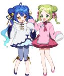 2girls :d amamiya_kokoro bangs bell blue_hair blue_ribbon blue_shirt blue_shorts blush bow braid brown_eyes china_dress chinese_clothes commentary_request double_bun dress eyebrows_visible_through_hair fang gradient_hair green_eyes green_hair hair_bell hair_bow hair_ornament hair_ribbon jingle_bell long_sleeves morinaka_kazaki multicolored_hair multiple_girls nijisanji open_mouth parted_bangs pink_bow pink_dress pink_footwear ribbon shirt shoes shorts simple_background sleeves_past_fingers sleeves_past_wrists smile twin_braids twintails v-shaped_eyebrows virtual_youtuber white_background white_dress wide_sleeves yamabukiiro yellow_ribbon