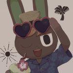1boy animal_ears beige_background coconut doubutsu_no_mori drink eyewear_on_head flower furry hat kirikarari3 one_eye_closed open_mouth rabbit rabbit_ears santos_(doubutsu_no_mori) solo teeth