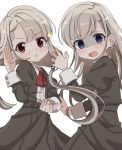 2girls black_jacket black_ribbon black_skirt blue_eyes blush_stickers bow braid brown_eyes collared_shirt dress_shirt grey_hair hair_ribbon highres hisakawa_hayate hisakawa_nagi idolmaster idolmaster_cinderella_girls idolmaster_cinderella_girls_starlight_stage jacket juliet_sleeves long_hair long_sleeves low_twintails multiple_girls open_mouth parted_lips pleated_skirt puffy_sleeves red_bow ribbon shaded_face shirt shiwa_(siwaa0419) simple_background skirt twintails very_long_hair white_background white_shirt