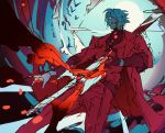 1boy animal belt bird bleeding blood blood_from_mouth blood_on_face bloody_hands bloody_weapon blue_eyes coat dante_(devil_may_cry) devil_may_cry endo_(takolegs) grin hair_over_one_eye highres injury male_focus red_coat silhouette sketch sleeves_rolled_up smile solo stabbed sword teeth torn_clothes weapon white_hair