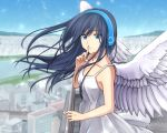 1girl black_hair blue_eyes blurry cityscape commentary_request day depth_of_field dress eyebrows_visible_through_hair feathered_wings finger_to_mouth headphones highres long_hair looking_at_viewer nail_polish original outdoors partial_commentary setu_kurokawa shushing solo sundress wings