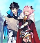 2boys armor astolfo_(fate) black_bow black_hair blue_cape bow braid cape charlemagne_(fate) cloak closed_eyes fang fate/apocrypha fate/extella fate/extella_link fate/extra fate_(series) fur_trim garter_straps gauntlets hair_intakes highres holding_map long_braid long_hair looking_at_map male_focus map multicolored_hair multiple_boys ono_matope open_mouth pink_hair pointing red_cloak short_hair single_braid skin_fang streaked_hair sweatdrop thigh-highs two-tone_hair white_cape white_cloak white_hair
