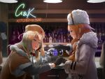 alcohol artist_request bar bartender blonde_hair blue_eyes chinese_commentary drinking drooling english_text fur_hat girls_frontline glass glass_bottle hat highres jill_stingray mosin-nagant_(girls_frontline) pouring ppsh-41_(girls_frontline) pub ushanka va-11_hall-a vodka