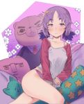 1girl bare_legs blush closed_mouth floral_background godekasu highres jitome long_sleeves looking_at_viewer low_twintails original panties pillow purple_background purple_hair purple_panties purple_theme raglan_sleeves shirt short_hair sitting sleeves_past_wrists solo star star_print stuffed_animal stuffed_toy teddy_bear twintails underwear violet_eyes