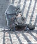 1girl armor bow brick_floor brick_wall commentary_request cosplay dark_souls_iii dragon's_tooth_(dark_souls) full_armor green_hair hair_bow handa_roko havel_the_rock havel_the_rock_(cosplay) helmet idolmaster idolmaster_million_live! idolmaster_million_live!_theater_days long_hair open_mouth pauldrons sitting solo souls_(from_software) ukkari_chabangeki yellow_eyes