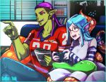 2girls aqua_(coffee_talk) blue_hair bookshelf coffee_talk controller eyeshadow female_orc fins flying_sweatdrops game_controller glasses hairlocs jersey m_shiroki makeup mermaid monitor monster_girl multiple_girls myrtle_(coffee_talk) orc pillow purple_hair sitting tentacles tusks undercut window