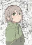 1girl :< absurdres bangs bob_cut coat commentary crop_marks foliage green_coat green_eyes hair_between_eyes hair_ornament hairclip highres hiranko light_frown looking_afar monochrome_background power_lines short_hair signature solo telephone_pole transformer tree upper_body yama_no_susume yukimura_aoi