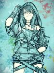 1girl fukuhara_tetsuya glasses gloves granblue_fantasy hand_in_pocket highres hood hoodie illnott paint_splatter shorts smile splatter_background zipper