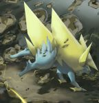 brown_eyes claws commentary creature electricity english_commentary full_body gen_3_pokemon highres manectric mega_manectric mega_pokemon no_humans pinkgermy pokemon pokemon_(creature) rock solo