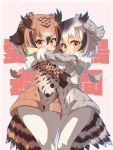 2girls bird_tail bird_wings blonde_hair brown_hair buttons coat commentary_request cowboy_shot eurasian_eagle_owl_(kemono_friends) eyebrows_visible_through_hair fur_collar fur_trim gloves grey_hair hair_between_eyes head_wings highres hug kemono_friends kolshica long_sleeves multicolored_hair multiple_girls northern_white-faced_owl_(kemono_friends) orange_eyes owl_ears pantyhose short_hair white_gloves white_hair white_legwear wings winter_clothes yellow_eyes yellow_gloves