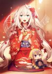 1girl blonde_hair blue_eyes character_doll fate/grand_order fate_(series) floral_print highres japanese_clothes kimono long_hair looking_at_viewer marie_antoinette_(fate/grand_order) no-kan open_mouth print_kimono red_kimono sash simple_background smile solo very_long_hair wide_sleeves