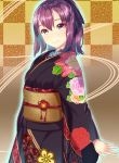 1girl arms_at_sides blush bow brown_eyes checkered checkered_background closed_mouth cowboy_shot floral_print hair_bow highres japanese_clothes kagematsuri kimono light_blush long_sleeves looking_at_viewer obi original ponytail purple_bow purple_hair purple_kimono sash short_hair smile solo standing wide_sleeves