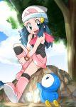 1girl aqua_eyes beanie blue_eyes blush clouds gen_4_pokemon hainchu hair_ornament hat hikari_(pokemon) long_hair open_mouth piplup pokemon pokemon_(creature) pokemon_(game) pokemon_dppt scarf skirt smile starter_pokemon tree