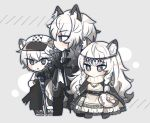 1boy 2girls animal_ears arknights bangs bead_necklace beads black_footwear black_gloves black_jacket brother_and_sister cabbie_hat cane cape chibi cliffheart_(arknights) closed_mouth eyebrows_visible_through_hair full_body gloves grey_background grey_eyes grey_hair hair_between_eyes hat head_chain jacket jewelry leopard_ears leopard_tail long_hair long_sleeves multicolored_hair multiple_girls necklace open_mouth pramanix_(arknights) rabi_(swordofthestone) short_hair siblings silverash_(arknights) simple_background smile standing tail white_hair