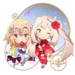 2girls alternate_costume blonde_hair blue_dress blue_ribbon braid chibi dress eyebrows_visible_through_hair fate/apocrypha fate/grand_order fate_(series) flower hair_flower hair_ornament japanese_clothes jeanne_d'arc_(fate) jeanne_d'arc_(fate)_(all) long_hair long_sleeves marie_antoinette_(fate/grand_order) multiple_girls no-kan one_eye_closed open_mouth puffy_sleeves red_flower red_rose ribbon rose sandals silver_hair smile violet_eyes
