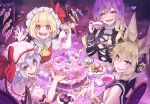4girls :d ascot bangs bare_shoulders bat_wings black_dress blonde_hair blue_hair blush bow bracelet breasts brown_eyes brown_hair cake candy check_commentary checkerboard_cookie checkered checkered_floor commentary commentary_request cookie cross-laced_clothes crystal cup dress earmuffs eyebrows_visible_through_hair fangs flandre_scarlet food from_behind gradient_hair hands_up hat hat_bow hat_ribbon heart heart-shaped_pupils hijiri_byakuren holding holding_cup jewelry lollipop long_hair looking_at_viewer looking_back medium_breasts mob_cap multicolored_hair multiple_girls open_mouth pink_dress pink_headwear pointy_hair puffy_short_sleeves puffy_sleeves purple_hair red_bow red_eyes red_ribbon red_vest remilia_scarlet ribbon shirt short_hair short_sleeves siblings sisters sleeveless smile symbol-shaped_pupils syuri22 teacup tongue touhou toyosatomimi_no_miko uneven_eyes upper_body vest violet_detector white_headwear white_shirt wings yellow_neckwear