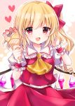 1girl :d arms_up bangs blonde_hair commentary_request cravat crepe eyebrows_visible_through_hair flandre_scarlet food frilled_shirt_collar frills fruit hair_ribbon hand_in_hair heart highres holding holding_food looking_at_viewer nagisa_shizuku no_hat no_headwear one_side_up open_mouth outline partial_commentary pink_background puffy_short_sleeves puffy_sleeves red_eyes red_skirt red_vest ribbon shirt short_hair short_sleeves skirt skirt_set smile solo standing strawberry touhou upper_body vest white_shirt wings wrist_cuffs yellow_neckwear