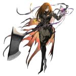 1girl armor axe bamuth brown_hair gauntlets highres holding holding_axe holding_skull holding_weapon huge_weapon lantern long_hair original parted_lips simple_background sketch skull slit_pupils smile solo torn_clothes vambraces violet_eyes weapon wet white_background