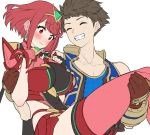 1boy 1girl baffu bangs blue_skirt blue_vest blush breasts brown_gloves brown_hair carrying closed_eyes earrings eyebrows_visible_through_hair fingerless_gloves gloves grin hetero homura_(xenoblade_2) jewelry large_breasts princess_carry red_eyes red_legwear red_shorts redhead rex_(xenoblade_2) short_shorts shorts simple_background skirt smile swept_bangs thigh-highs tiara vest white_background xenoblade_(series) xenoblade_2