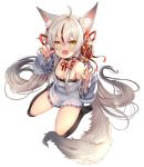 1girl :d absurdres ahoge animal_ear_fluff animal_ears bell bell_choker black_legwear breasts brown_eyes choker claw_pose clothes_writing collarbone commentary english_commentary eyebrows_visible_through_hair fangs fox_ears fox_tail full_body hair_bell hair_between_eyes hair_censor hair_ornament hair_ribbon highres kamiko_kana kamiko_kana_channel long_hair looking_at_viewer multicolored_hair open_mouth over-kneehighs red_ribbon redhead ribbon see-through shirt silver_hair simple_background sitting skin_fangs sleeves_past_wrists small_breasts smile solo strap_slip streaked_hair tail thigh-highs tress_ribbon very_long_hair virtual_youtuber white_background xephonia