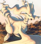 blue_eyes claws commentary creature english_commentary fangs gen_5_pokemon highres legendary_pokemon no_humans pinkgermy pokemon pokemon_(creature) reshiram solo standing