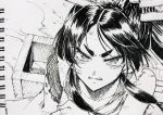 1girl aosa_(momikin) bangs greyscale headgear high_ponytail kantai_collection long_hair monochrome multi-tied_hair nisshin_(kantai_collection) ponytail sidelocks smoke solo tears thick_eyebrows traditional_media upper_body