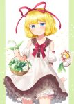 1girl bangs basket blonde_hair bloomers blue_eyes bow bowtie closed_mouth collarbone commentary_request cowboy_shot detached_sleeves doll dress eyebrows_visible_through_hair flower hair_ribbon holding holding_flower lily_of_the_valley looking_at_viewer medicine_melancholy mito_tsubaki petticoat pillarboxed puffy_short_sleeves puffy_sleeves red_bow red_neckwear red_ribbon ribbon short_hair short_sleeves smile su-san touhou underwear white_dress white_flower wings