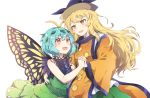 2girls :d antennae bangs black_shirt blonde_hair blue_hair breasts brown_eyes butterfly_wings caramell0501 commentary_request constellation_print eternity_larva eyebrows_visible_through_hair green_skirt hair_between_eyes hair_ornament highres holding_hands interlocked_fingers leaf_hair_ornament long_hair long_sleeves matara_okina medium_breasts multiple_girls open_mouth shirt simple_background skirt smile tabard touhou very_long_hair white_background wide_sleeves wings