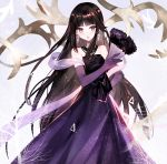 1girl :d bangs bare_shoulders black_hair blush brown_eyes collarbone commentary_request dress earrings elbow_gloves eyebrows_visible_through_hair fan folding_fan fur_trim gloves highres holding holding_fan jewelry long_hair looking_at_viewer moemoe3345 open_mouth original pleated_dress purple_dress purple_gloves smile solo strapless strapless_dress v-shaped_eyebrows very_long_hair