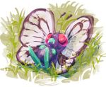 bug butterfly butterfree commentary creature english_commentary fangs full_body gen_1_pokemon grass hushcoil insect lying no_humans on_back pokemon pokemon_(creature) solo violet_eyes
