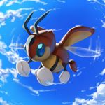 blue_eyes blue_sky clouds cloudy_sky commentary creature day english_commentary flying full_body gen_2_pokemon ledian no_humans pinkgermy pokemon pokemon_(creature) sky
