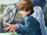 1boy brown_hair day fence fighting_stance hiyoshi_wakashi jacket kopiko49 long_sleeves male_focus outdoors tennis_no_ouji-sama upper_body