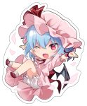 1girl ;d bat_wings bloomers blue_hair blush chibi commentary_request fang full_body hat looking_at_viewer mob_cap one_eye_closed open_mouth outstretched_arms pink_headwear red_eyes red_neckwear red_ribbon remilia_scarlet ribbon short_hair smile solo touhou underwear wings yuki_(popopo)
