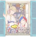 2girls alternate_costume animal apron bangs basket blonde_hair blue_eyes blue_hair bowl bracelet cat chin_rest colis commandant_teste_(kantai_collection) cup elbow_rest food fruit hair_between_eyes hair_bun jewelry kantai_collection lemon long_hair multicolored_hair multiple_girls off_shoulder plant redhead richelieu_(kantai_collection) sleeveless smile twitter_username waist_apron white_apron white_hair window windowsill