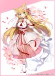 1girl animal_ears apple_caramel bangs bare_shoulders blonde_hair blue_eyes blush breasts cat_ears cherry_blossoms commentary_request dress elbow_gloves eyebrows_visible_through_hair flower gloves hair_flower hair_ornament hanazono_serena hanazono_serena_(channel) highres large_breasts long_hair looking_at_viewer open_mouth pink_dress pink_flower pink_ribbon red_ribbon ribbon shoes smile solo very_long_hair virtual_youtuber white_footwear white_gloves