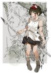 1girl absurdres bare_arms bare_shoulders black_skirt blood blood_on_face bob_cut boots brown_eyes brown_hair cape commentary earrings facepaint facial_mark foliage full_body fur fur_cape headband highres hiranko holding holding_knife holding_spear holding_weapon huge_filesize jewelry knife looking_at_viewer mask mask_on_head monochrome_background mononoke_hime necklace open_mouth outside_border polearm san shirt short_hair signature skirt smile solo spear studio_ghibli weapon white_footwear white_shirt